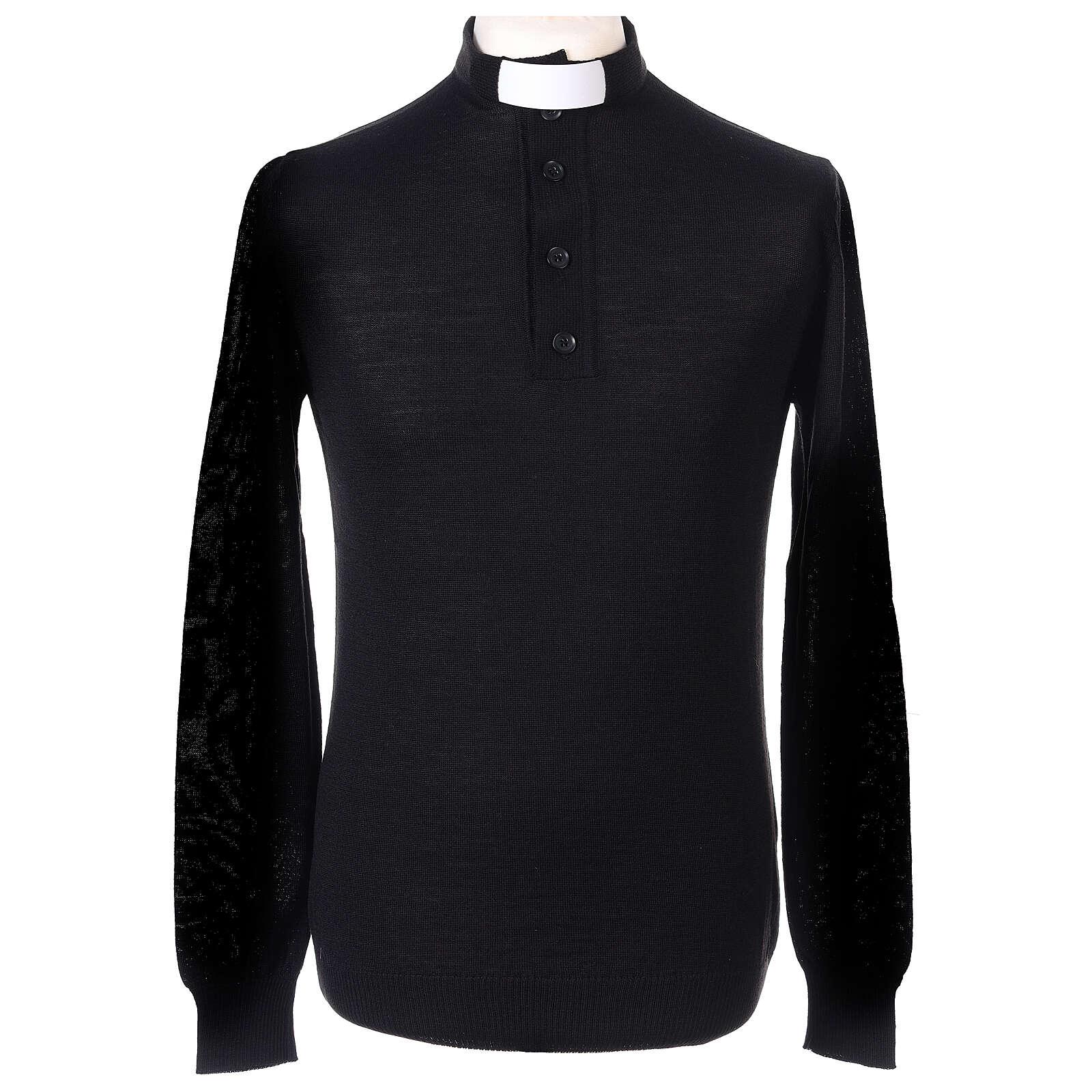 Maglione Merinos collo clergy nero 4
