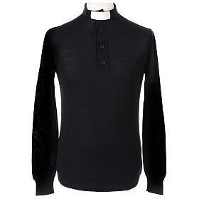 Maglione Merinos collo clergy nero s1