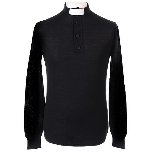 Maglione Merinos collo clergy nero 1