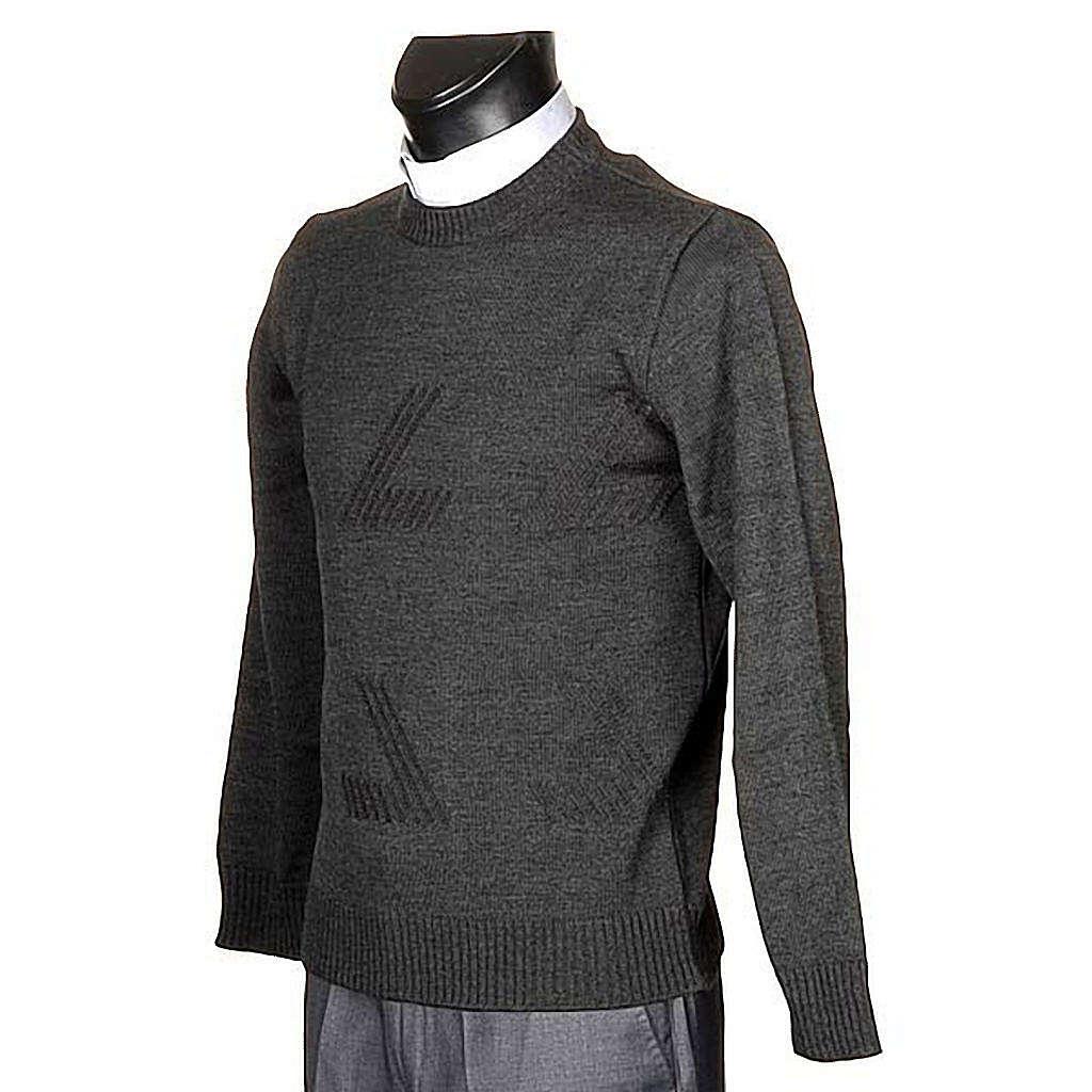 Jersey cuello redondo de lana con un motivo 4