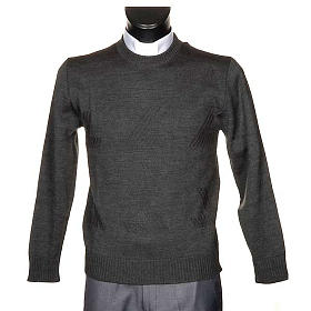 Jersey cuello redondo de lana con un motivo s1