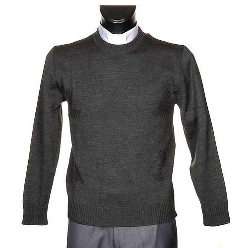 Jersey cuello redondo de lana con un motivo 1