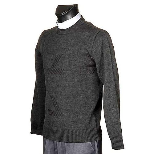 Jersey cuello redondo de lana con un motivo 2