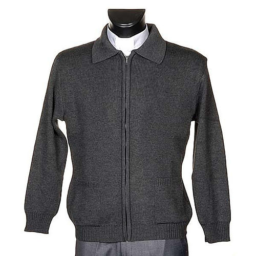 STOCK Polo-neck dark grey jacket 1