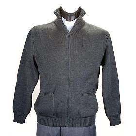Chaqueta con cuello alto gris oscuro s1