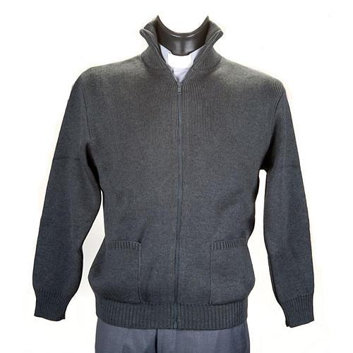 Chaqueta con cuello alto gris oscuro 1