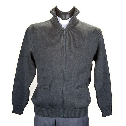 High-neck dark gray jacket 1