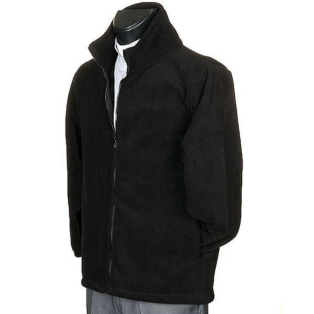 Black pile jacket with zip and pockets 4