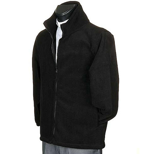 Black pile jacket with zip and pockets 2