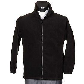 Polaire homme noir, zip et poches s1