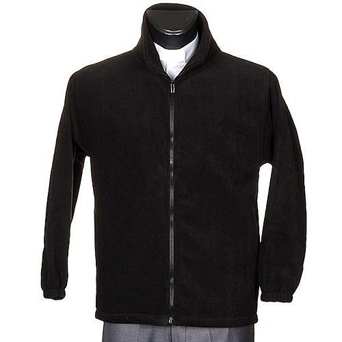 Polaire homme noir, zip et poches 1