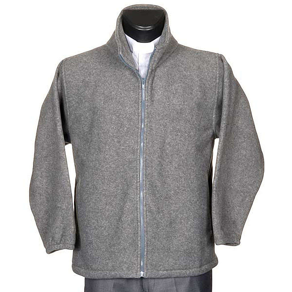 Dark grey pile jacket with zip and pockets 4