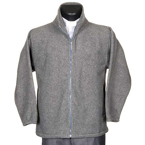 Dark grey pile jacket with zip and pockets 1