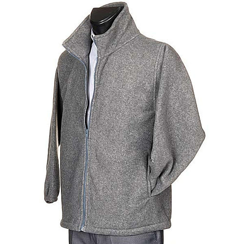 Dark grey pile jacket with zip and pockets 2