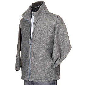 Dark grey pile jacket with zip and pockets s2