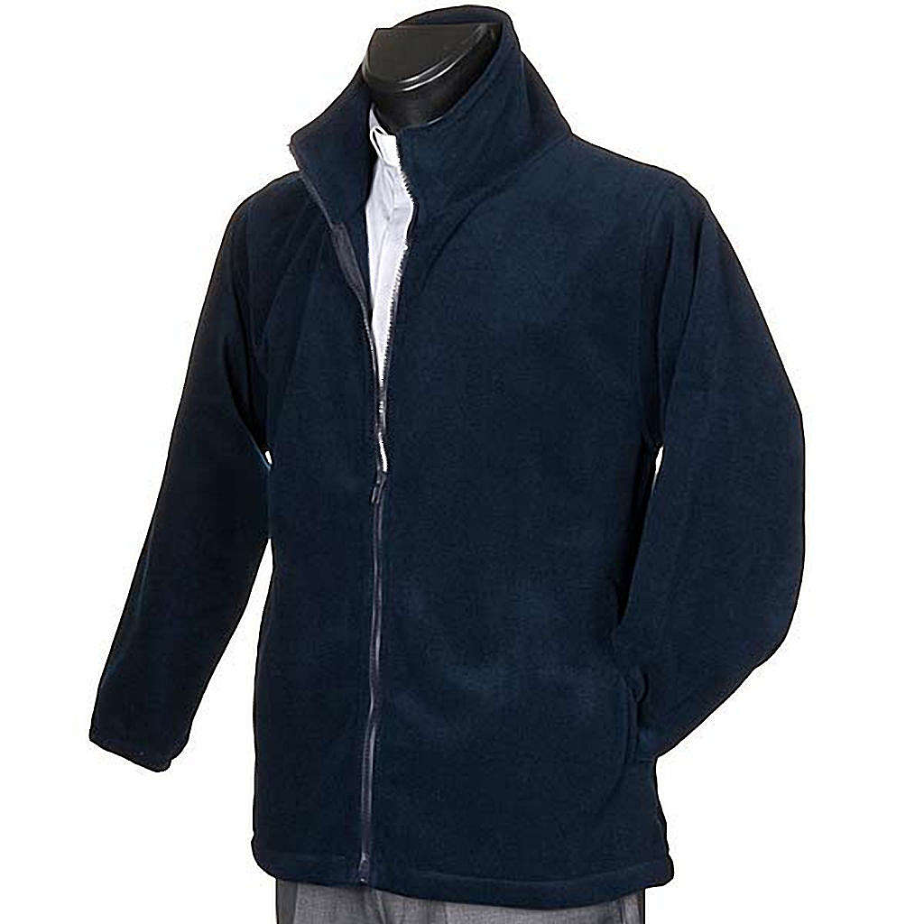 Blue pile jacket with zip and pockets 4