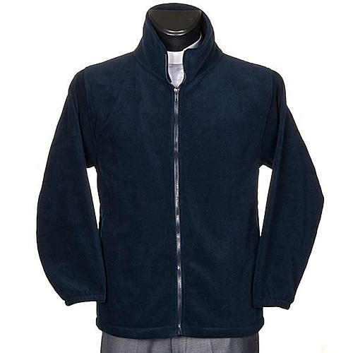 Blue pile jacket with zip and pockets 1
