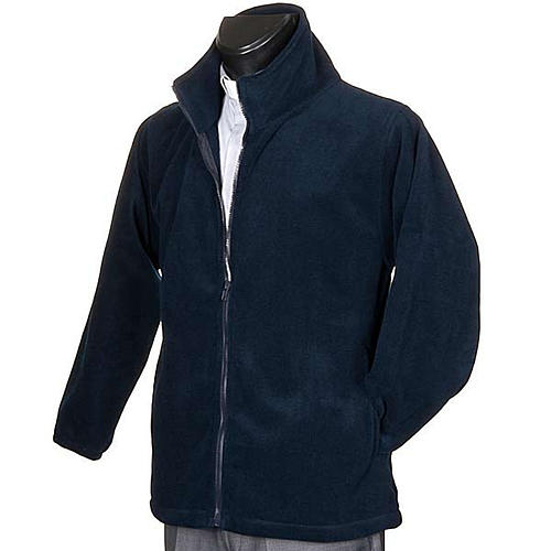 Blue pile jacket with zip and pockets 2