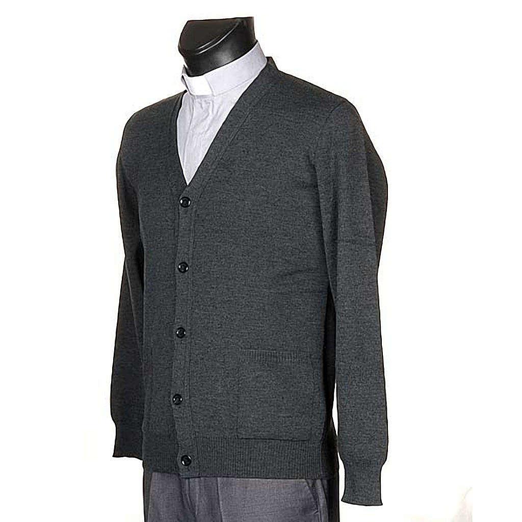 Jacke Wolle mit Knopfe dunkel Grau 4