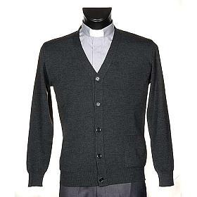 Jacke Wolle mit Knopfe dunkel Grau s1