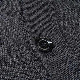 Jacke Wolle mit Knopfe dunkel Grau s3