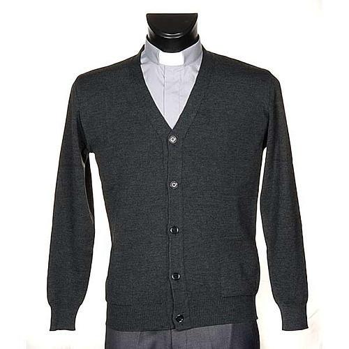 Jacke Wolle mit Knopfe dunkel Grau 1