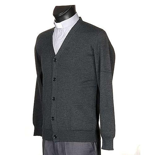 Jacke Wolle mit Knopfe dunkel Grau 2