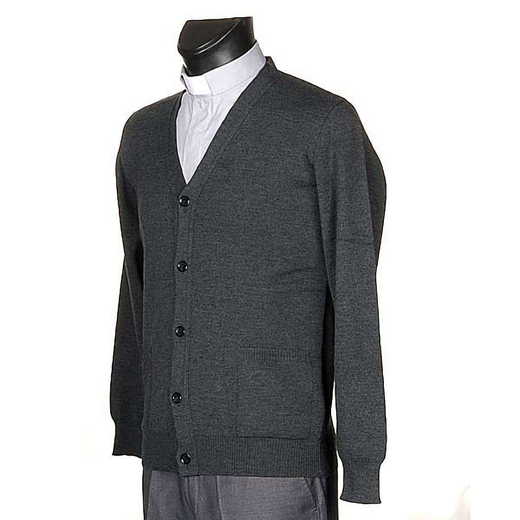 Cárdigan lana con botones gris oscuro 4