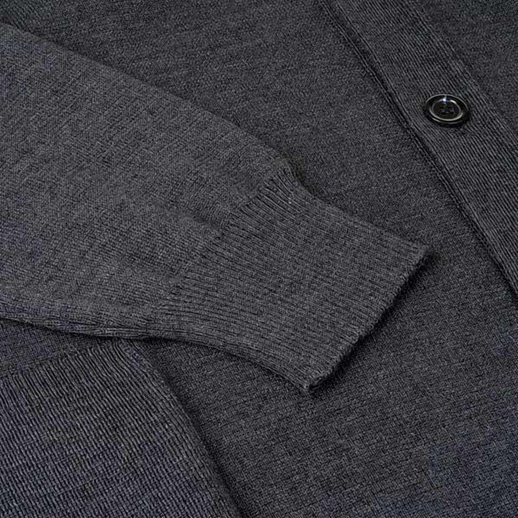 Sweter wełniany zapinany na guziki ciemnoszary 4