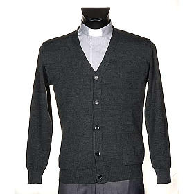 Dark grey woolen jacket with buttons s1