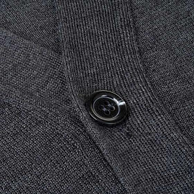 Dark grey woolen jacket with buttons s3