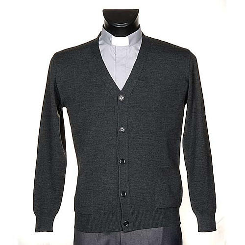Dark grey woolen jacket with buttons 1