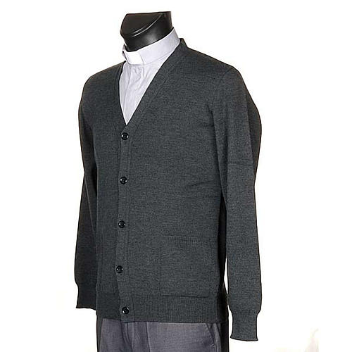 Dark grey woolen jacket with buttons 2