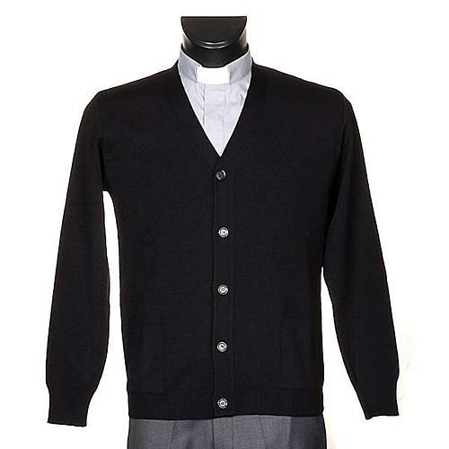 Cárdigan lana con botones negro 1