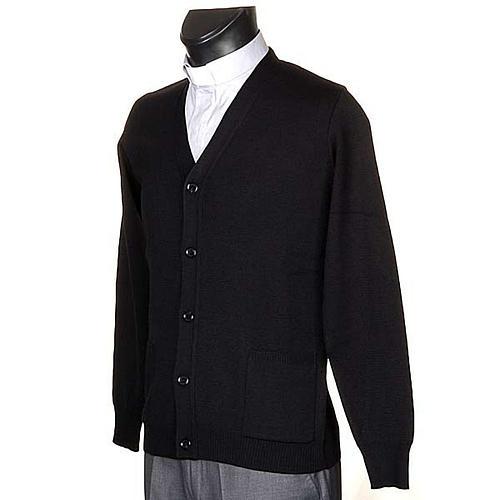 Cárdigan lana con botones negro 2
