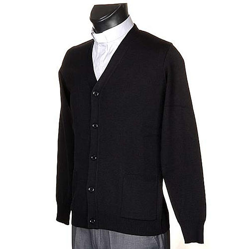 Veste en laine avec boutons,noir 2