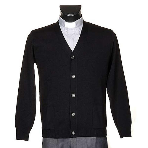Black woolen jacket with buttons 1