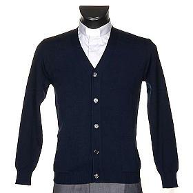 Jacke Wolle mit Knopfe Blau s1