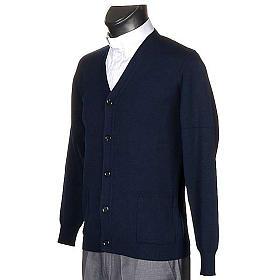 Jacke Wolle mit Knopfe Blau s2