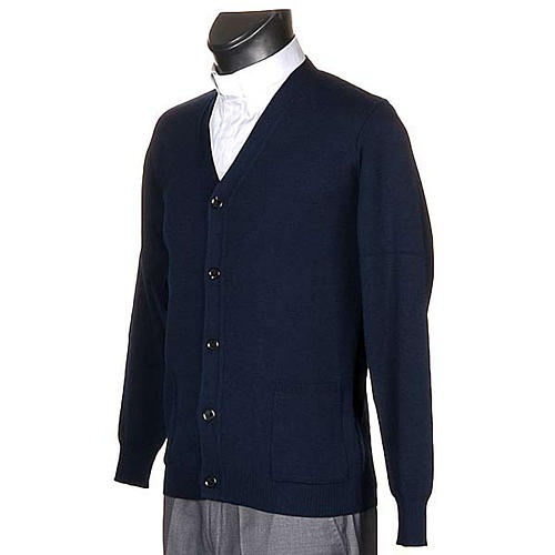 Jacke Wolle mit Knopfe Blau 2