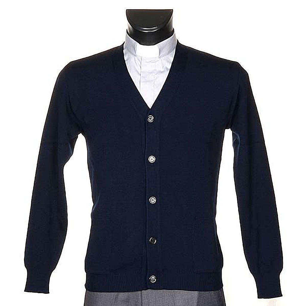 Veste en laine avec boutons,bleu 4