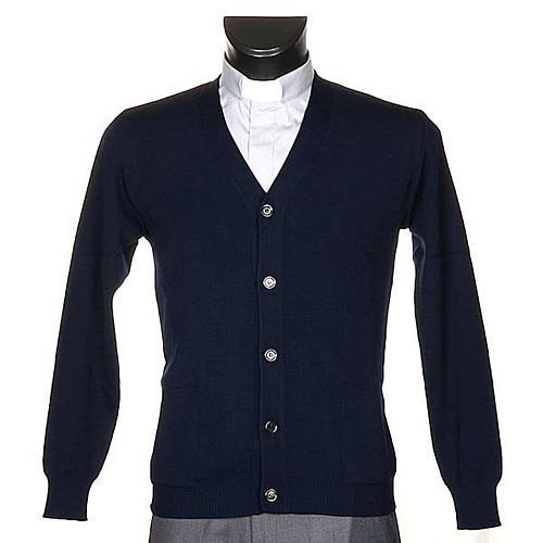 Veste en laine avec boutons,bleu 1