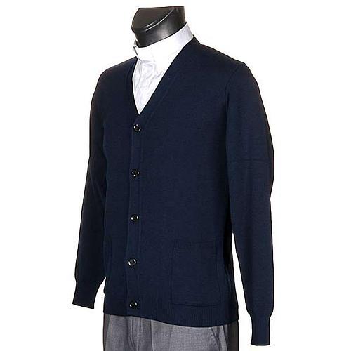 Veste en laine avec boutons,bleu 2