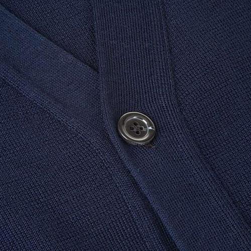 Sweter wełniany zapinany na guziki granatowy 3
