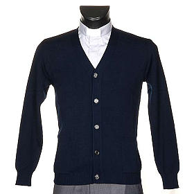 Blue woolen jacket with buttons s1