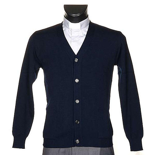 Blue woolen jacket with buttons 1