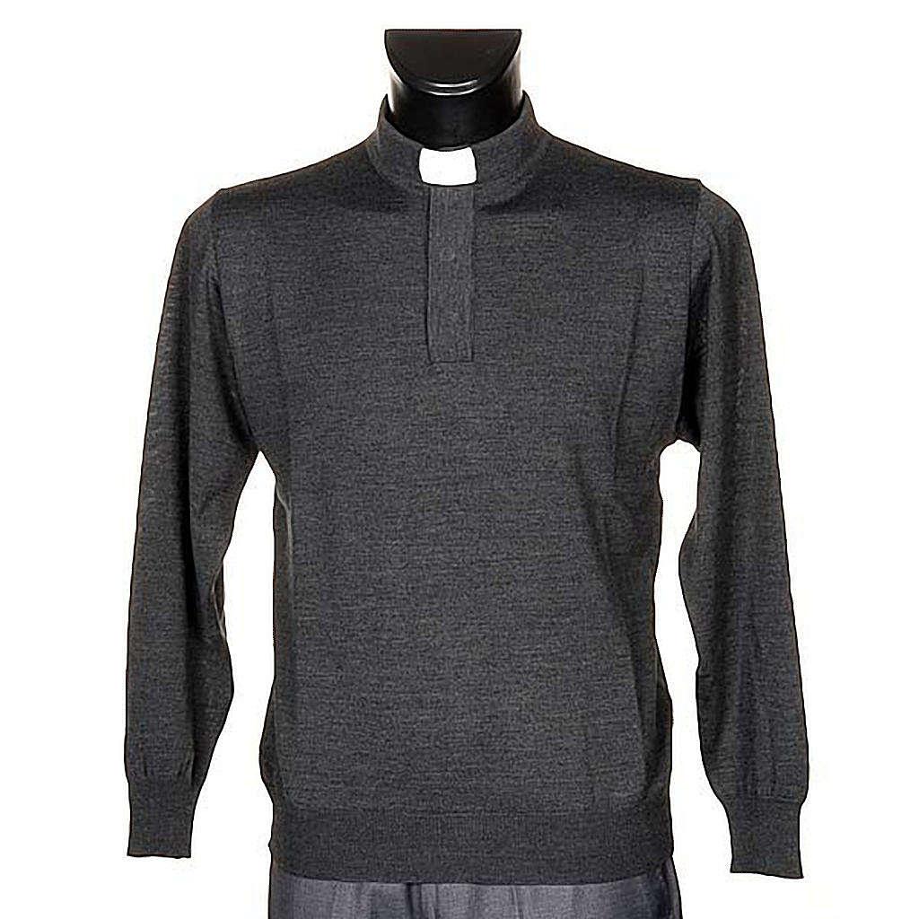 Polo clergy manches longues, gris foncé 4