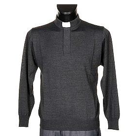 Polo clergy manches longues, gris foncé s1