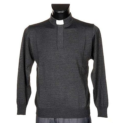 Polo clergy manches longues, gris foncé 1
