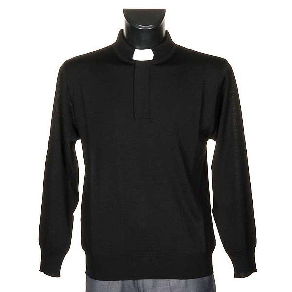 Polo clergy nera maglia calata 4